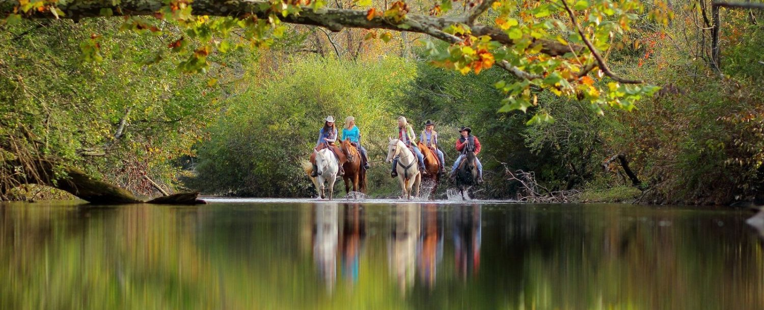 Image of Horse Back Riders fording the Tennessee River in North Georgia