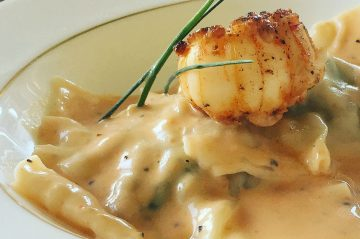 Image of Lobster Ravioli with Lobster Bisque at Beechwood Inn