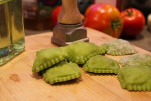 Spinach Ravioli with Tomatoes and Basil