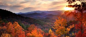 View from Black Rock Mountain at Sunset during the fall