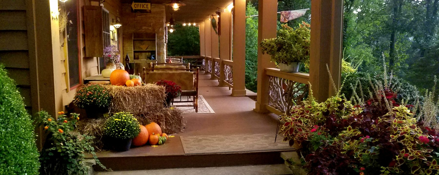 View of Beechwood Inn Front Porch in Autumn at Dusk
