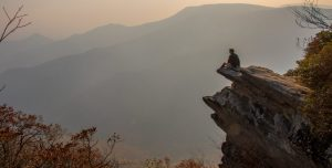Image of Hiker on Pickens Nose NC.