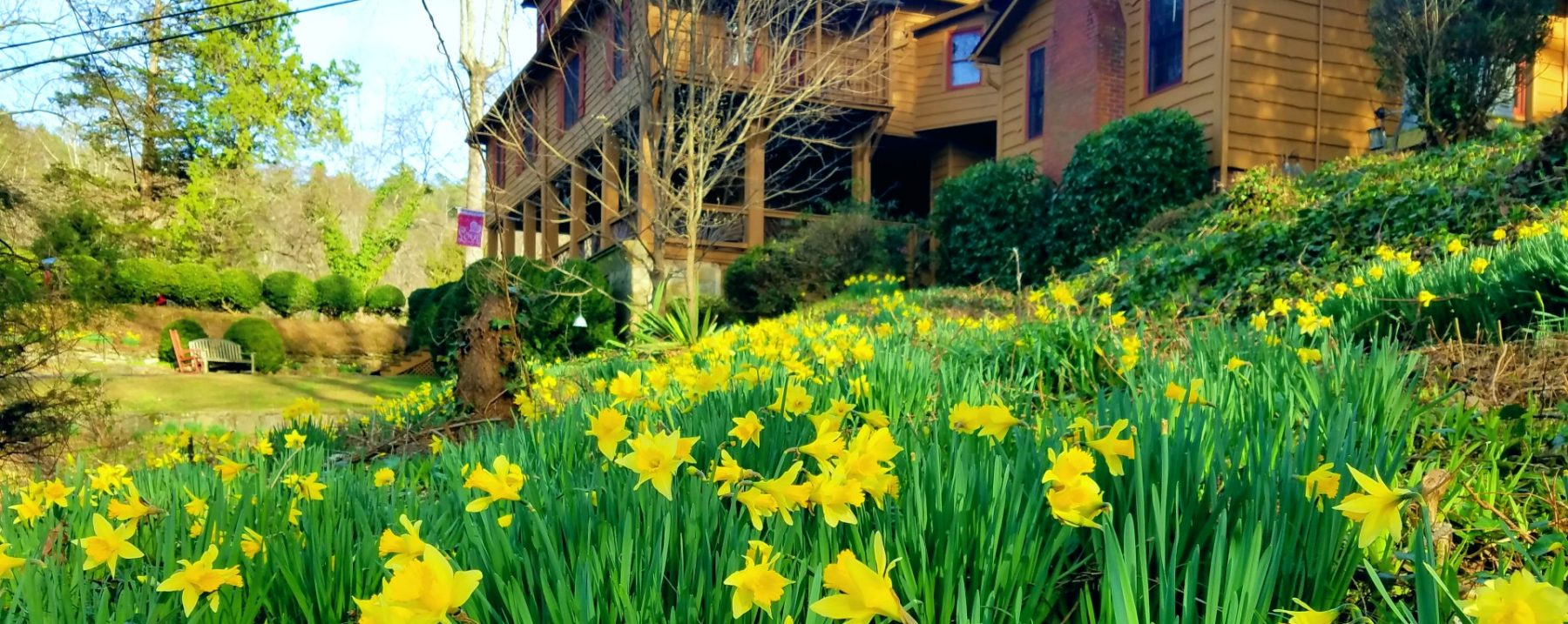 Spring Photo of Beechwood Inn with Spring Flowers in Bloom